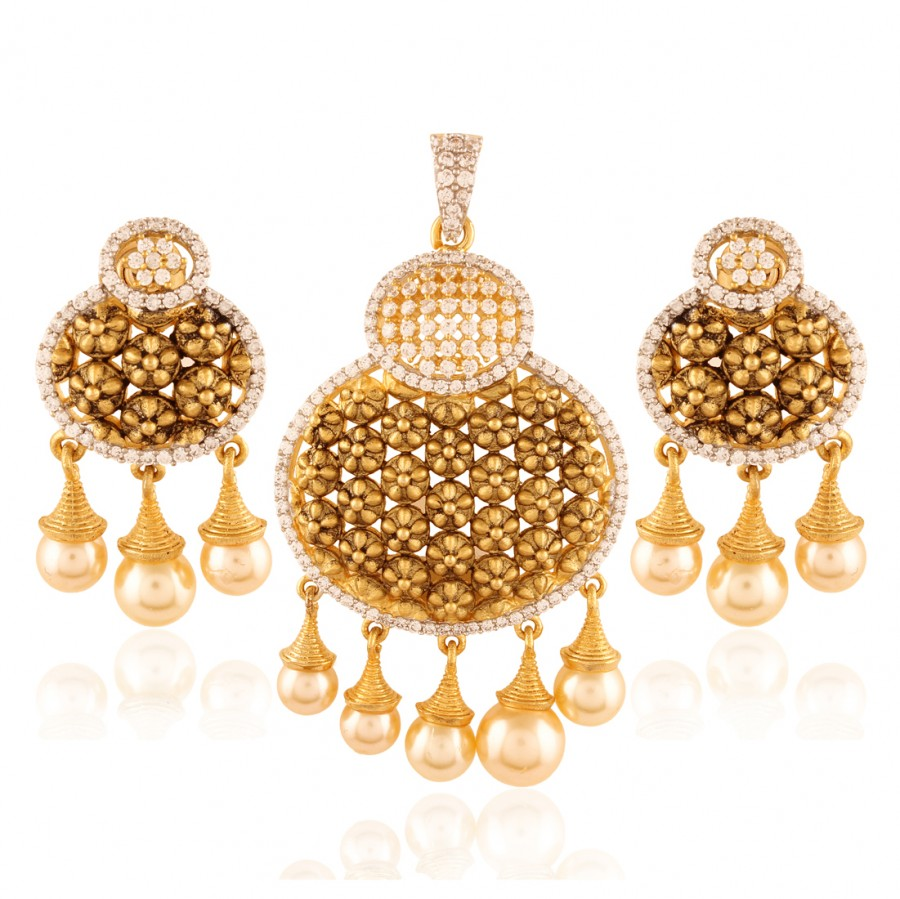Buy Spectacular Gold plated American Diamond set Online