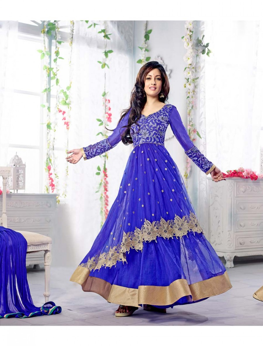 Buy THANKAR FABULOUS LATEST HEAVY DESIGNER BLUE ANARKALI SUITS Online