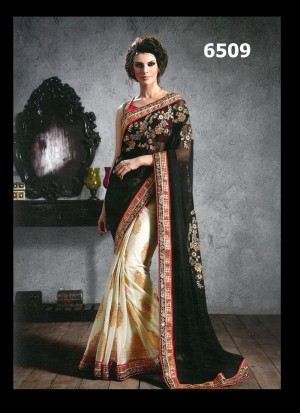 Buy Black & White Georgette And Jacquard With Hand Work Saree Online