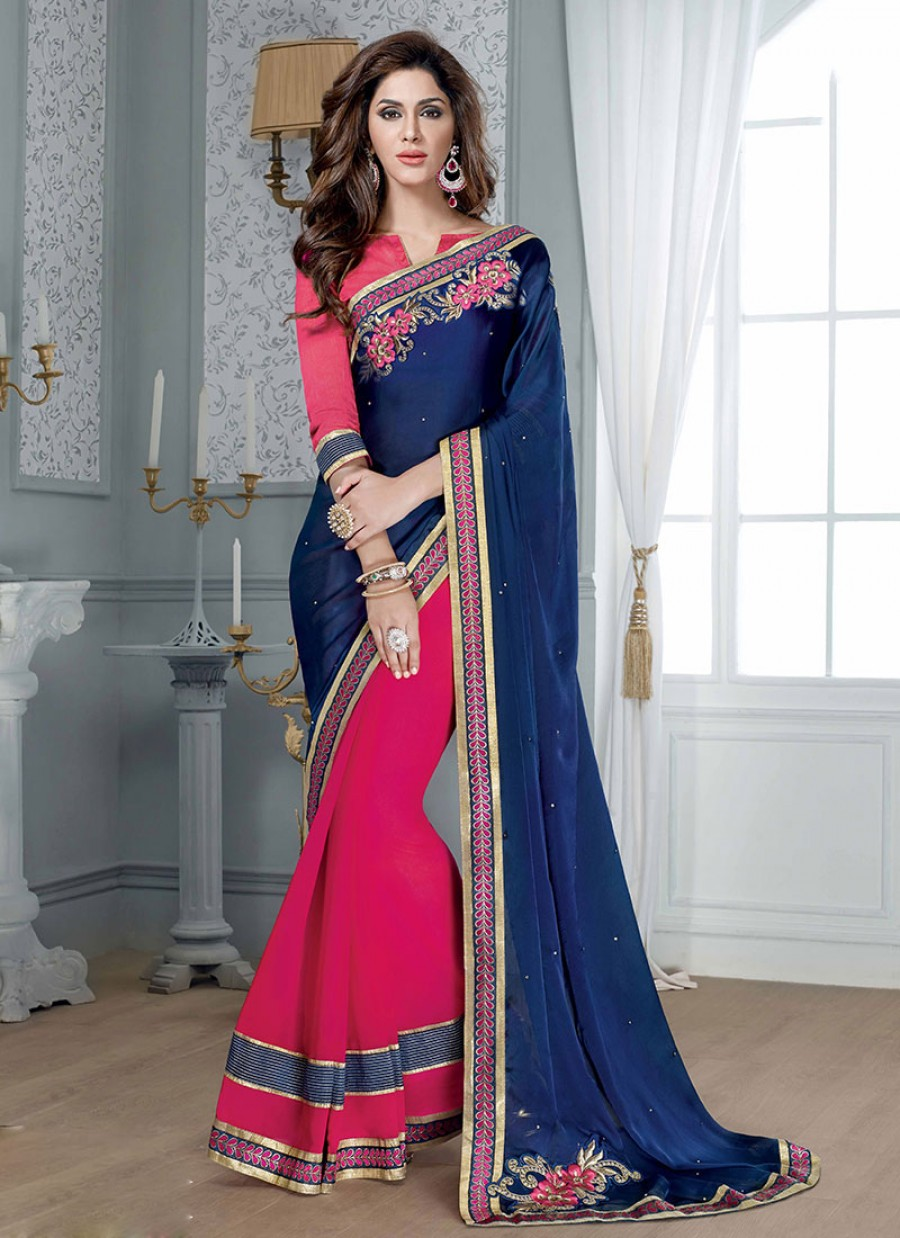 Buy VandV Fancy Half Dark Blue & Pink Georgette Saree Online