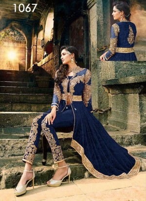 Buy VandV Dark Blue Beautiful Velvet & Net Anarkali Suit Online