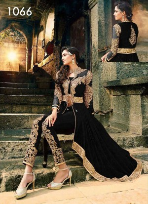 Buy VandV Black Colour Beautiful Georgette Anarkali Suit Online