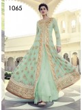 VandV Green Colour Shades With Heavy Embroidery Anarkali Suit