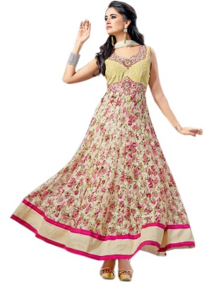 Buy VandV White & Fuchsia Pink Designer & Flowered Printed Net Anarkali Suits Online