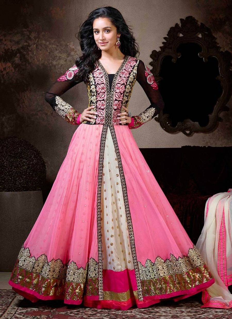 Buy VandV Black & Pink Fabulous Heavy Designer Anarkali Suits Online