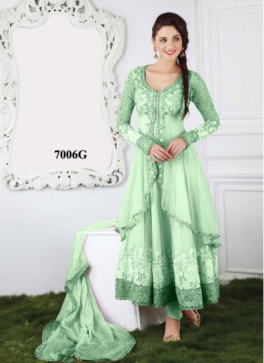 Buy VandV New Soft Green Jacket Style Long Anarkali Salwar Kameez Online