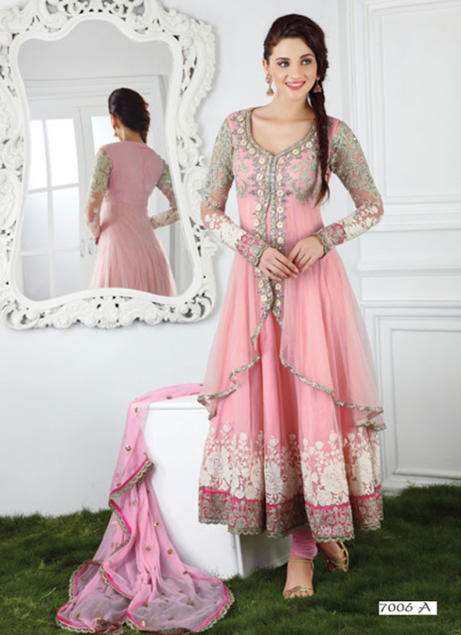 Buy Online|VandV New Pink Long Anarkali Salwar Kameez | 500310
