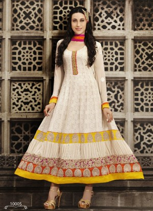 Buy VandV Latest Designer Cream Georgette Anarkali Suit Online