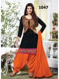 VandV Black And Orange Cotton Jacket Style Salwar Suit