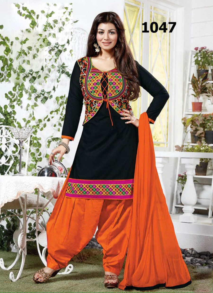Buy VandV Black And Orange Cotton Jacket Style Salwar Suit Online