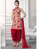 VandV Cream And Red Cotton Patiala Suit Collection