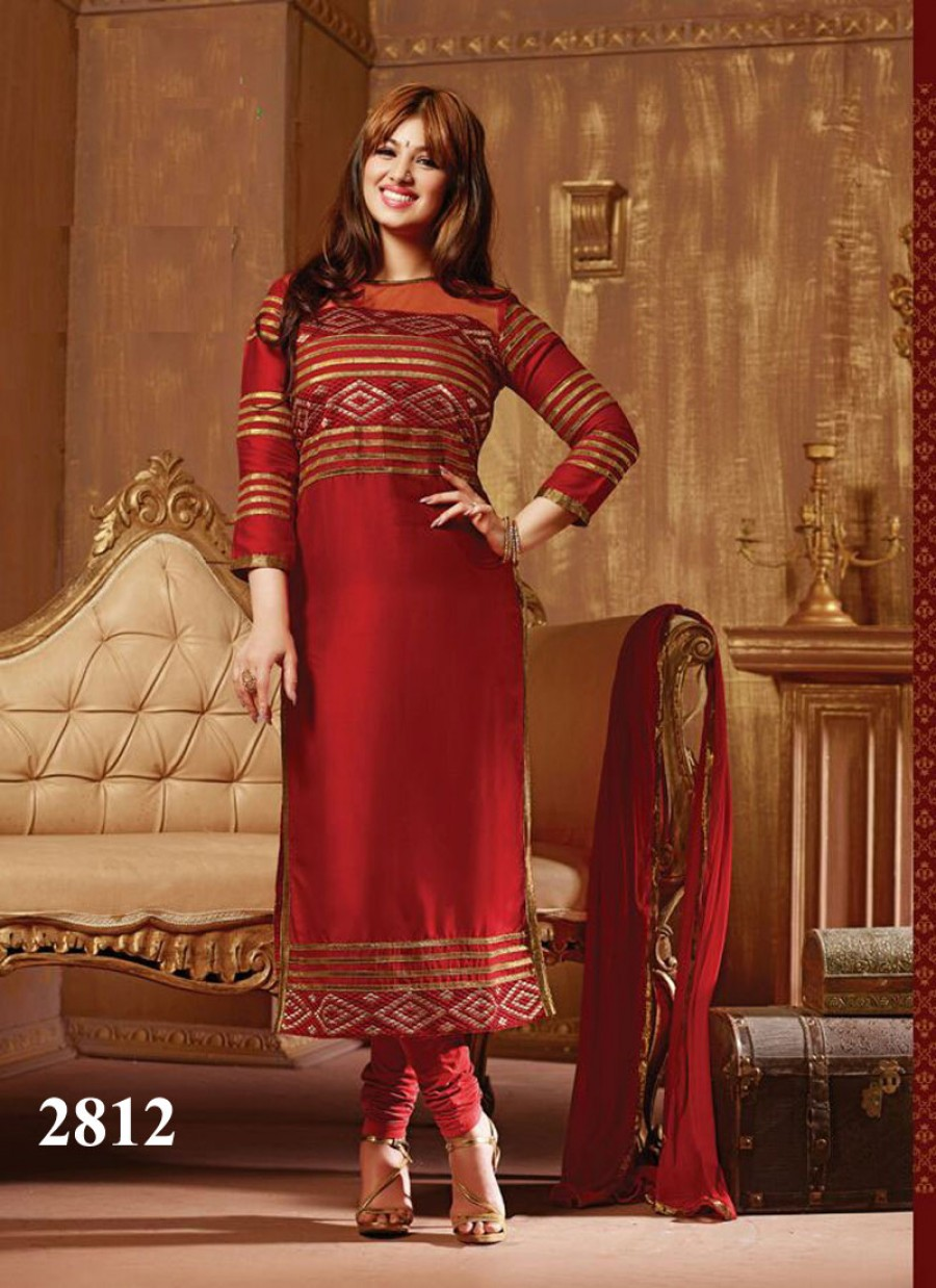Buy VandV Red Designer Net And Cotton Long Salwar Kameez Online