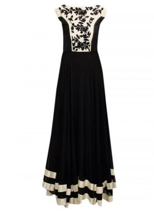 Buy Fancy Black & White Georgette With Multy Work Gown Online