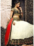 VandV White Plain Designer Lehenga Choli With Embroidered Work