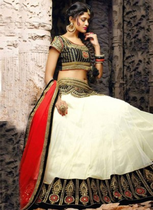 Buy VandV White Plain Designer Lehenga Choli With Embroidered Work Online