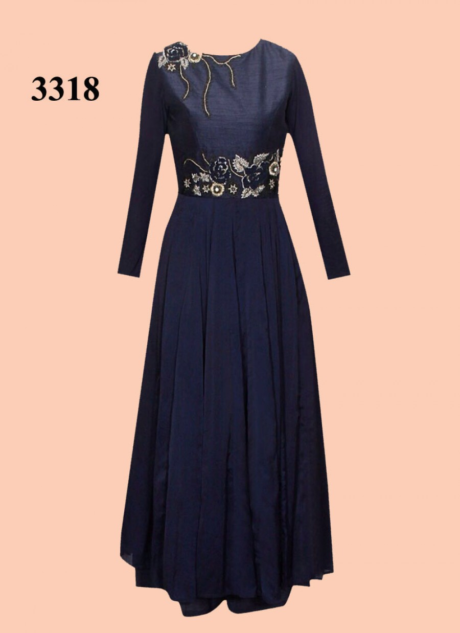 Buy Navy Blue Banglori With Multy Work Gown Online