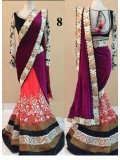 Rani Pink Designer Velvet & Net With Lace Work Lehenga Saree