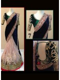 VandV Blue & Green Velvet With Net Lace Work Lehenga Saree