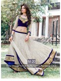 VandV Royal Blue And White Velvet And Net Designer Lehenga Choli