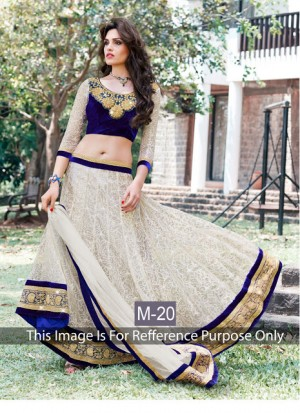 Buy VandV Royal Blue And White Velvet And Net Designer Lehenga Choli Online