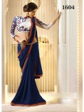 VandV New Arrival Dark Blue Satin Chiffon Designer Saree