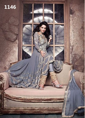 Buy Gray Designer Georgette Semi Stitched Anarkali Suit Online