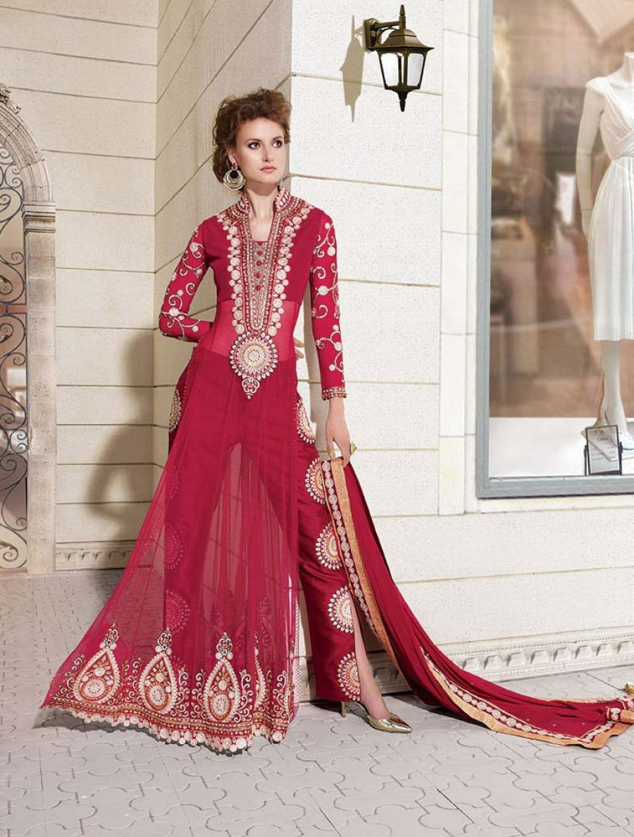 Buy Zoya Red Designer Pant Sttyle Party Wear Semi Stitched Anarkali Suit Online