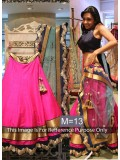 Latest New Raw Silk Pink & Grey Lehenga Choli