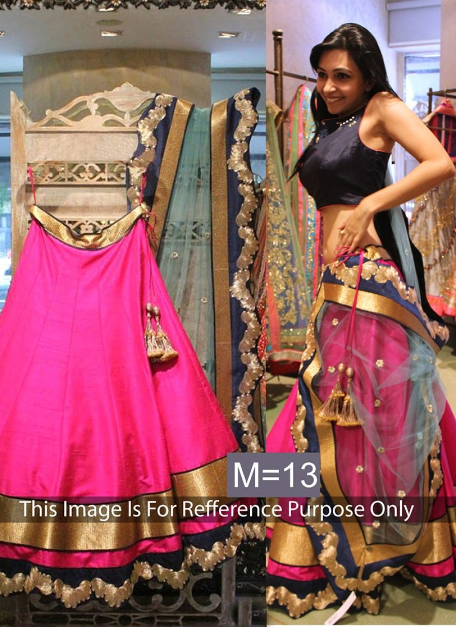 Buy  Latest New Raw Silk Pink & Grey Lehenga Choli Online