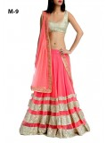 Marvellous Peach Silky Georgette Net Lehenga Choli