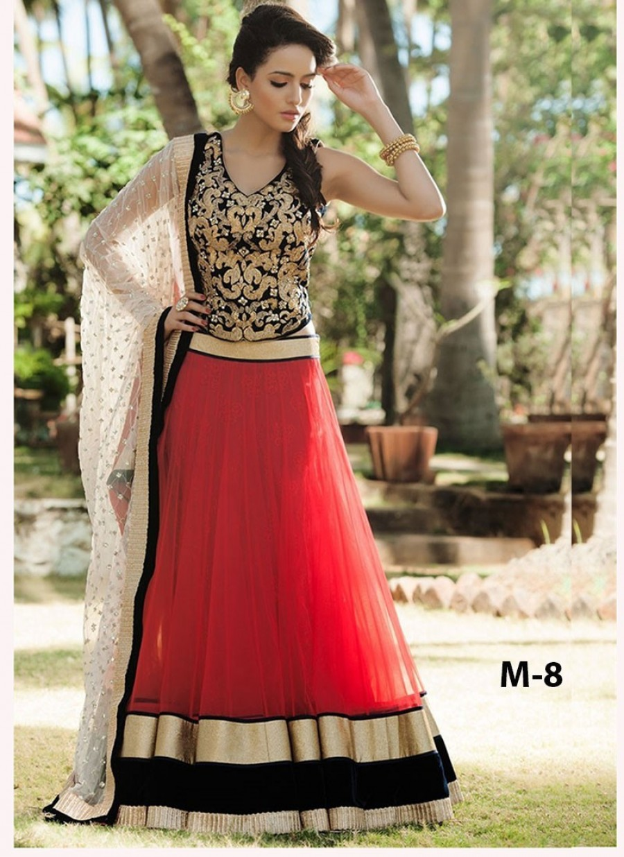 Buy VandV Red Net Designer Lehenga Choli Online