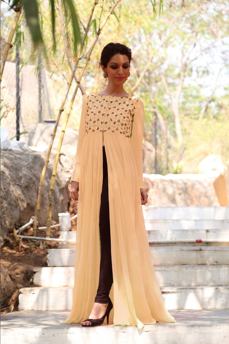 Buy New Latest Peach Colour Semi Stitched Embroidered Designer Kurtis Online