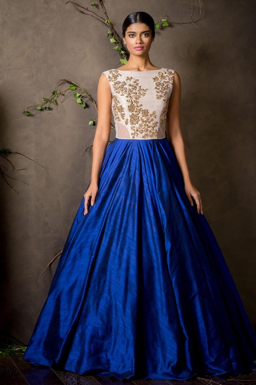 Buy New White & Blue Colour Floor Touch Semi Stitched Designer Gown Online