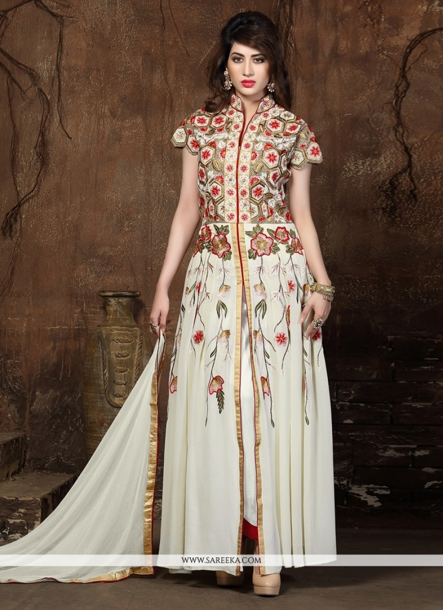 Buy VandV New Designer White Color Cotton Suit With Full Embroided Online