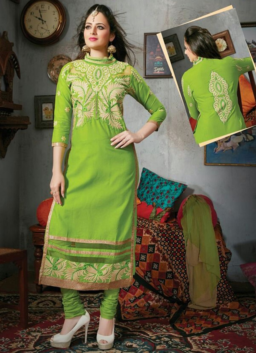 Buy VandV Green Designer Cotton Suit With Full Embroided Online