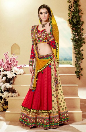 Buy Red & Cream Designer Mirror Work With Lace Work Lehenga Choli Online