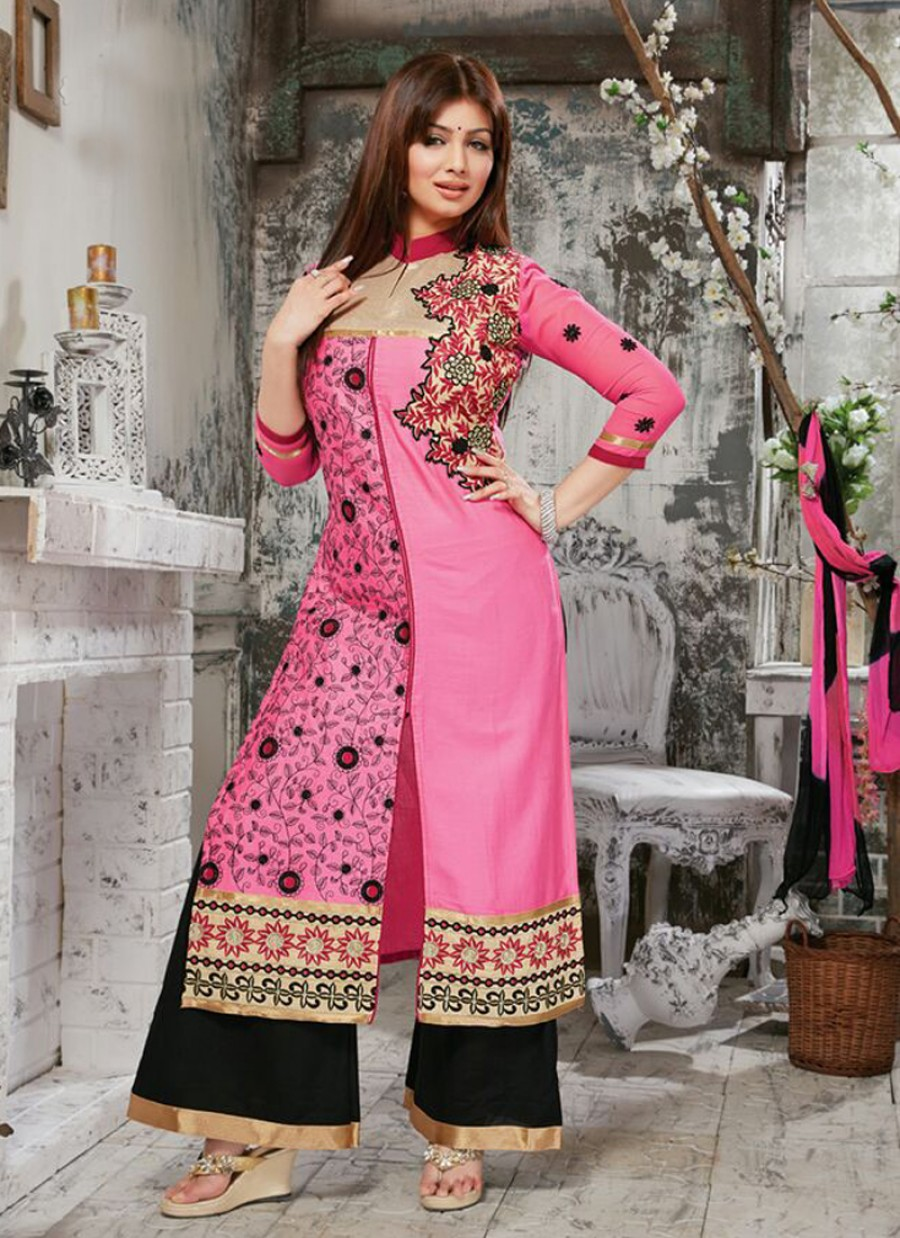Buy VandV New Designer Pink Color Cotton Suit With Full Embroided Online