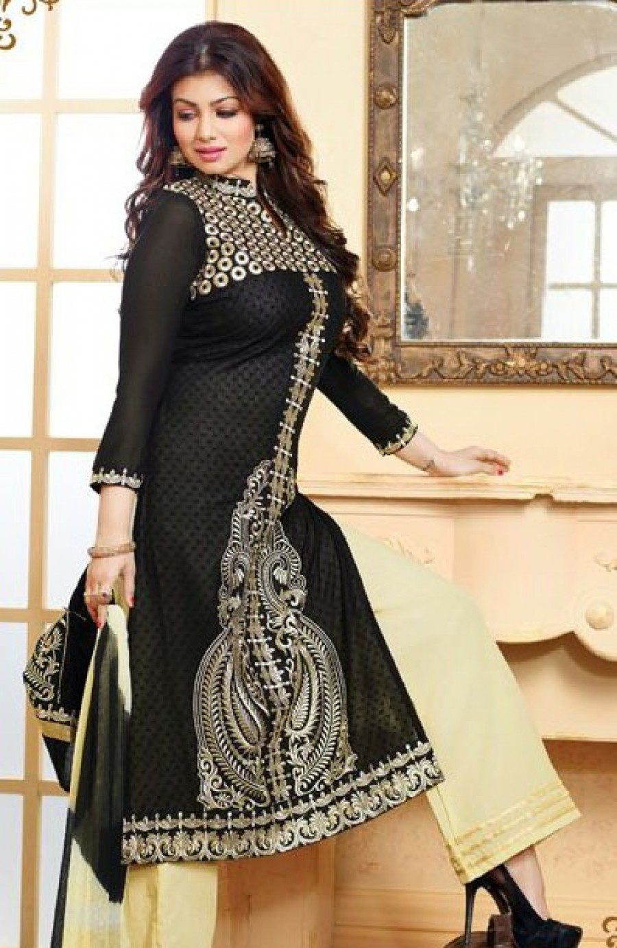 Buy VandV Beautiful Black And Cream Plazzo Style Salwar Suit Online