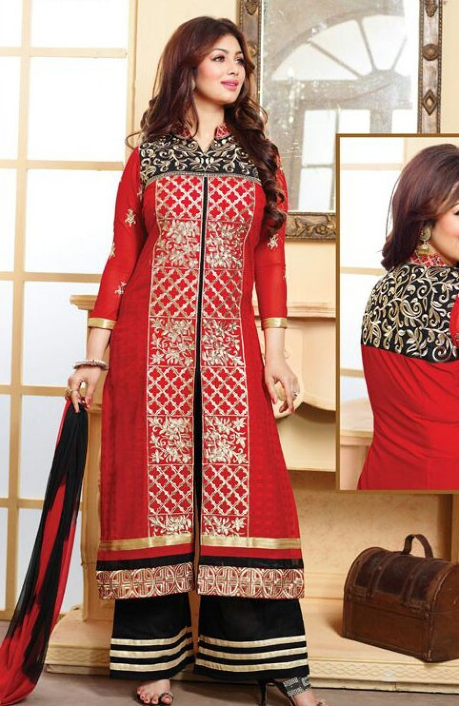 Buy VandV Beautiful Red and Black Plazzo Style Salwar Suit Online
