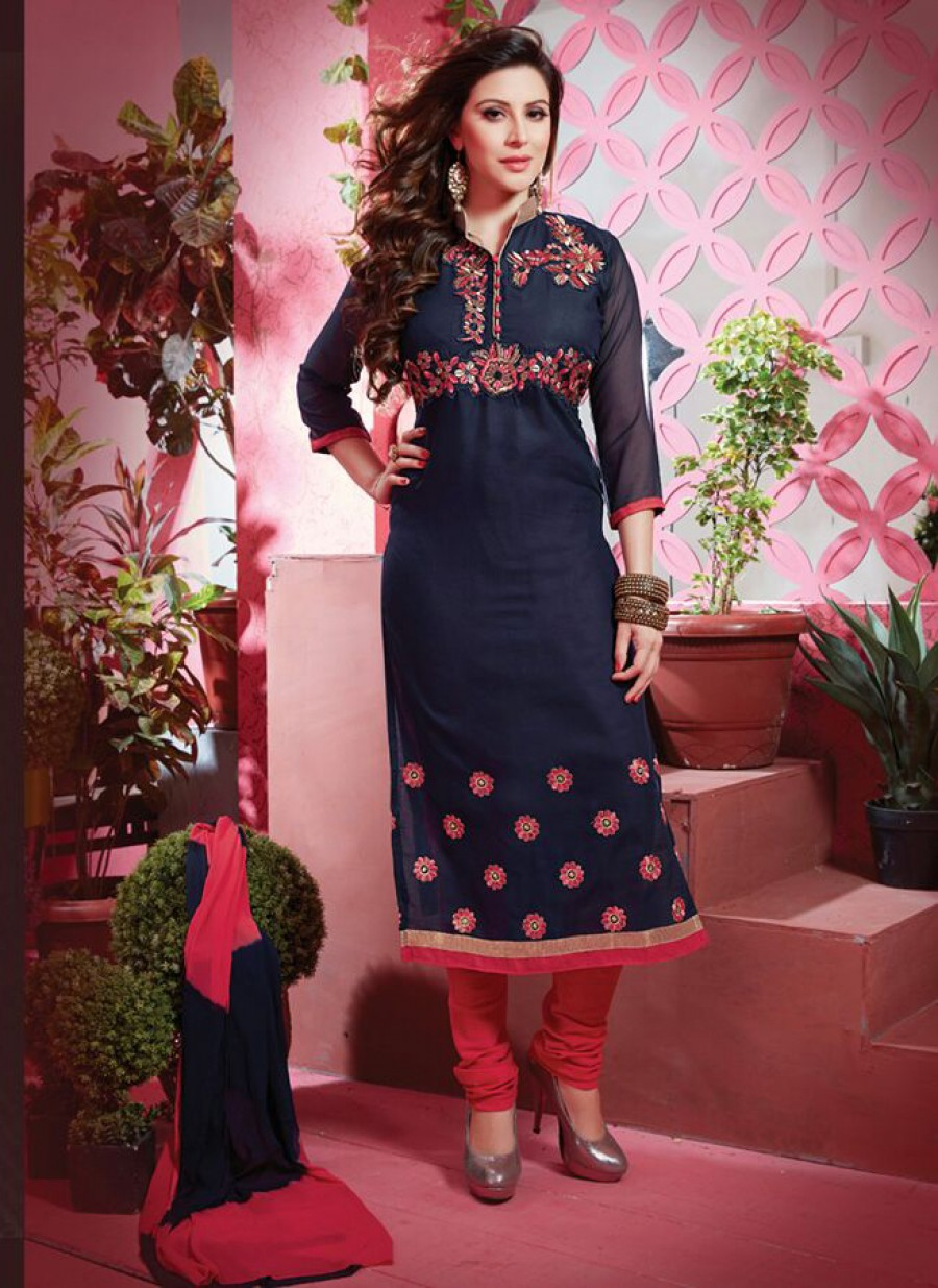 Buy  VandV Beautiful Blue And Pink Cotton Salwar Suit Online