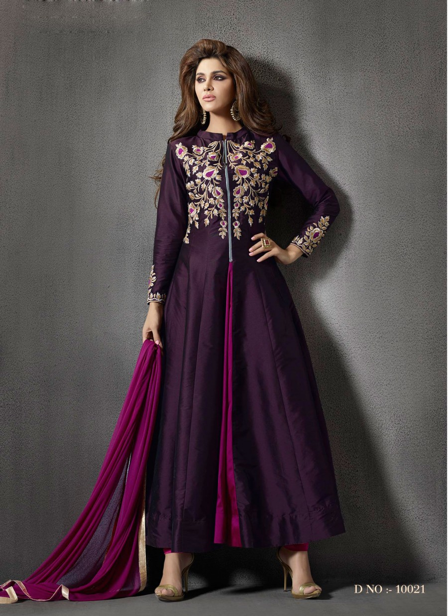 4be0580f4ef Buy VandV New Beautiful Purple Color Anarkali Suit Online