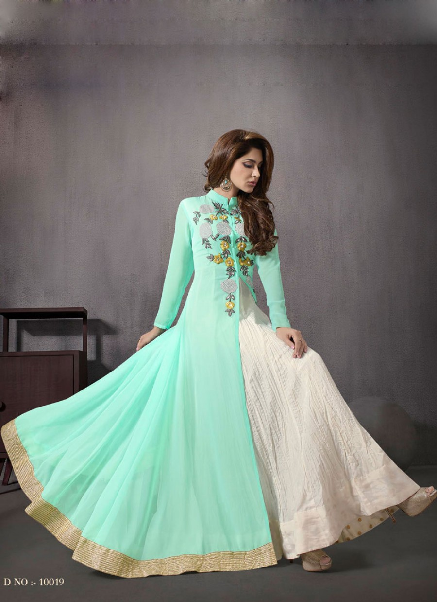 e74e27b303b Buy VandV New Sea-Green Color Indo Western Style Anarkali Suit Online