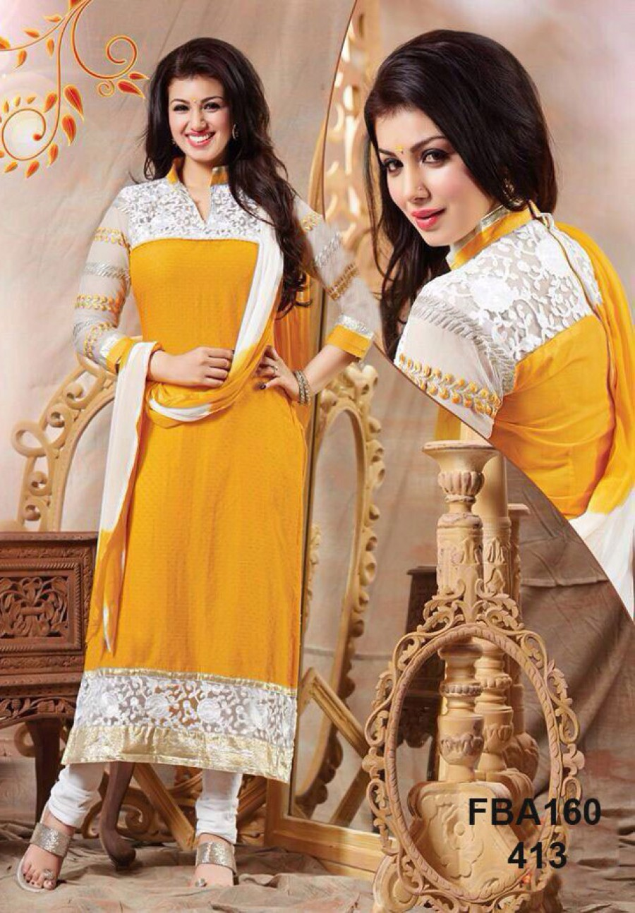 Buy VandV Latest Yellow Cotton Straightcut Salwar Suits Buy Online Online