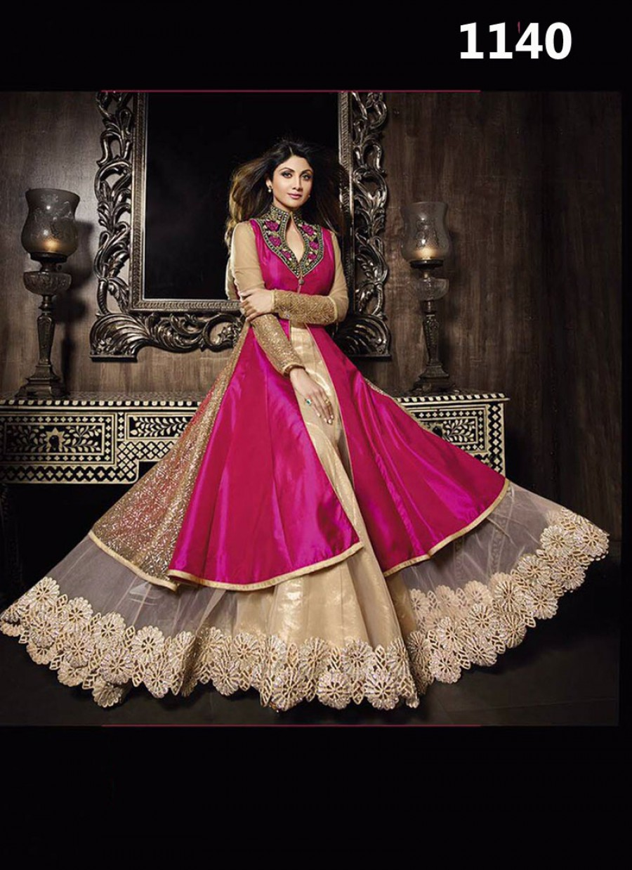 Buy VandV Shilpa Shetty Latest Fuchsia Pink Raw Silk Indo Western Gown Style Suit Online