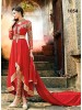 VandV Designer Red Georgette Long Anarkali Suit
