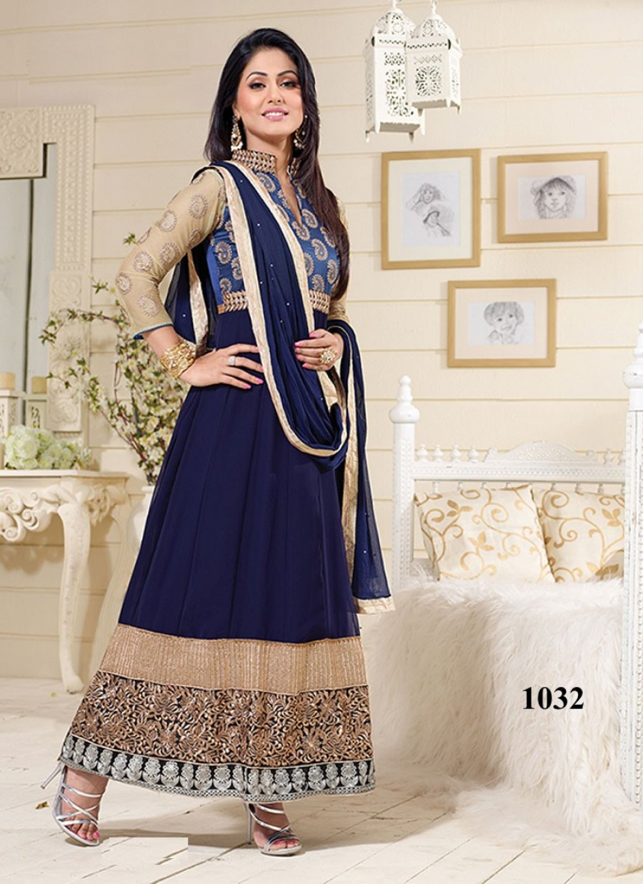 Buy VandV Hina Khan Designer Dark Blue Georgette Long Anarkali Suit Online