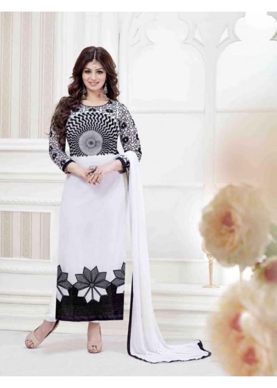 Buy THANKAR WHITE GEORGETTE STRAIGHT SUIT Online