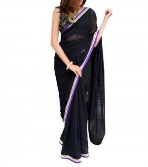 Buy Black Georgette Border Work Saree Online