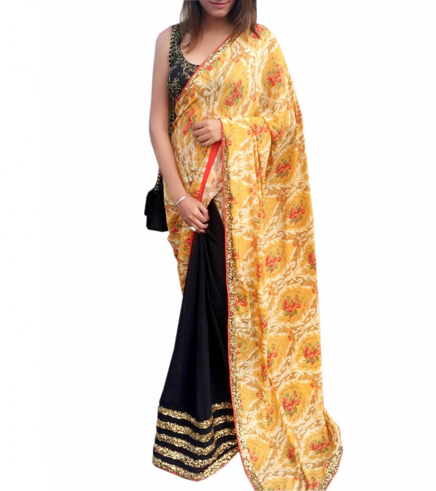 Buy Yellow & Black Crepe & Georgette Printed Saree Online