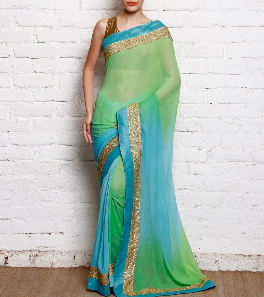 Buy Sky Blue Sequined Semi Georgette Saree Online